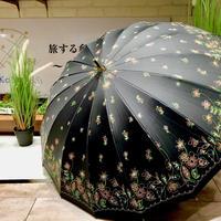 【-18~19℃】傘専門店 通販 東京 日傘 晴雨兼用 サビない グラス骨 遮光 遮熱 旅傘【16本骨 Garden Black】