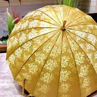 【焼き入 高級傘シリーズ】傘専門店 通販 東京 折りたたみ傘 撥水 日傘 雨傘 晴雨兼用 旅傘【ジャガード Gold】