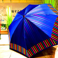 【折 2段 日本製】傘専門店 通販 東京 折りたたみ傘 日傘 雨傘 晴雨兼用  旅傘【Wストライプ 紺】