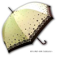 【2/3まで遮熱】 傘専門店 通販 東京 日傘 雨傘 晴雨兼用 ワンタッチ ジャンプ グラスファイバー 軽量 サビない 旅傘 【Blackコート  Littleflower Beige】