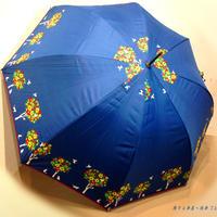 【-18~19℃】傘専門店 通販 東京 日傘 晴雨兼用 サビにくい 黒骨 遮光 遮熱 旅傘【ドームStyle 小鳥と猫 Navy】