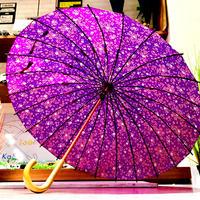 【24本骨 シリーズ】傘専門店 通販 東京 雨傘 晴雨兼用 日傘 UV遮蔽 サビにくい 黒骨 旅傘【満開の桜 紫】