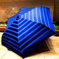 【折 日傘】傘専門店 通販 東京 折りたたみ傘 日傘 雨傘 晴雨兼用 遮光 遮熱 旅傘【清涼効果 Border Blue】