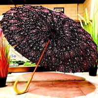 【24本骨 シリーズ】傘専門店 通販 東京 雨傘 晴雨兼用 日傘 UV遮蔽 サビにくい 黒骨 旅傘【満開の桜 黒】