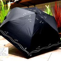 【折 日傘】傘専門店 通販 東京 折りたたみ傘 日傘 雨傘 晴雨兼用 遮光 遮熱 旅傘【清涼効果 Kamome Black】