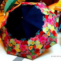 【折&長 】  傘専門店 通販 東京 雨傘 日傘 グラスファイバー 長傘  折り畳み 旅傘【MF ブーケ Black】