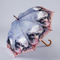 傘専門店  通販  東京  雨傘  ワンタッチ  ジャンプ  サビにくい  黒骨  旅傘  【輸入物   絵画風〜キャット〜ピンク】