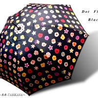 UVカット99% 傘専門店  通販  東京  日傘  雨傘  晴雨兼用   ワンタッチ  ジャンプ  グラスファイバー  軽量  サビない  旅傘【ポリウレタンコート ドットflower Black】