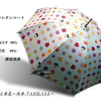 UVカット99% 傘専門店  通販  東京  日傘  雨傘  晴雨兼用   ワンタッチ  ジャンプ  グラスファイバー  軽量  サビない  旅傘【ポリウレタンコート ドットflower pink】