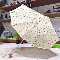 【折 2段式 パラソル】傘専門店 通販 東京 折りたたみ傘 日傘 レディース メンズ 旅傘【綿生地 お花 White】