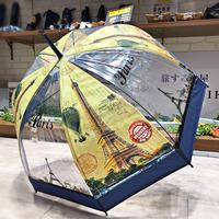 【バードゲージ 鳥かごシリーズ】傘専門店 通販 東京 手開き 雨傘 ビニ傘 レディース メンズ 旅傘【透明 パリ Navy】