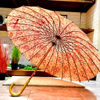 【24本骨 シリーズ】傘専門店 通販 東京 雨傘 晴雨兼用 日傘 UV遮蔽 サビにくい 黒骨 旅傘【満開の桜 ピンク】