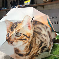 【転写 猫ちゃんシリーズ】60cm 傘専門店 通販 東京 折り畳み 旅傘【Collar Cat A】
