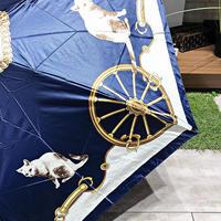 【折 日傘 熱吸収35%シリーズ】50cm 傘専門店 通販 東京 折りたたみ 遮光 遮熱 晴雨兼用 旅傘【サテン Retrospective Cat Navy】