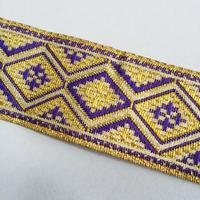 25mmチロリアンテープ「金紫ダイヤ柄」(30cm単位)