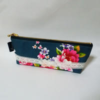 台湾花布のペンケース(ブルーグレー・牡丹)