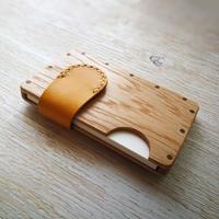 a card case オーク×イエロー  - 木と革の手作り名刺入れ -