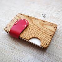 a card case オーク×ピンク  - 木と革の手作り名刺入れ -