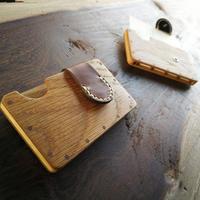 a card case 【オーク】 - 木と革の手作り名刺入れ -