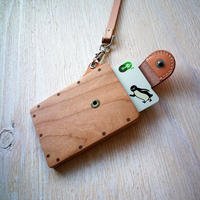 IC card case 【チェリー】 - 木と革のパスケース ICカード入れ -