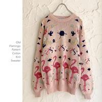 90's Flamingo Pattern Cottonニットセーター