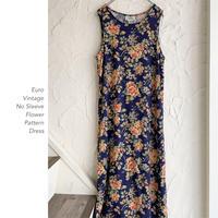 Euro Vintage 花柄ノースリーブワンピース
