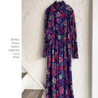 80-90's Flower Pattern ロングワンピース
