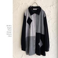 80-90's Argyle Panel Patternベロアシャツ