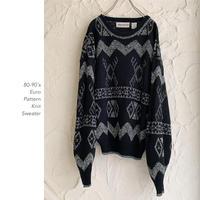 80-90's Euro総柄ニットセーター