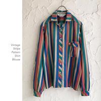 Vintage Stripe Patternシャツブラウス