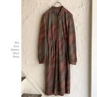 90's Euro Pattern Wool ワンピース