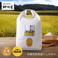 特別栽培米 コウノトリ育むお米(減農薬)玄米玄米 10kg 5kg×2袋  送料無料(北海道・沖縄・離島除く)