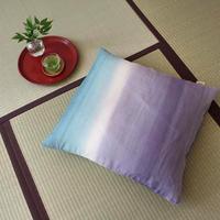 小座布団カバー 50×55cm 本麻・生平/引き染めブルー