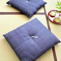 小座布団 50×55cm 本麻・生平/印度藍(いんどあい)【角房あり】