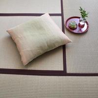 小座布団カバー 50×55cm 本麻・生平/引き染めグリーン