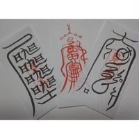 38)左 ぬれぎぬを祓う符・中 呪いを防ぐ符・右 生霊・呪詛返し 定期入れサイズ(携帯用3枚セット)