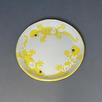 ヤモリ丸平皿