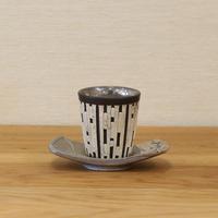 大上祐樹 縞貼付プラチナ釉茶碗・茶托