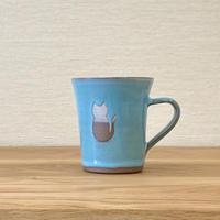 ねこマグカップ (水色)