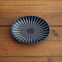 ぎやまん陶〜楕円中皿〜 茄子紺ブルー