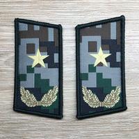【少将】中国人民解放軍07式迷彩服用 林地迷彩柄 襟章 階級章