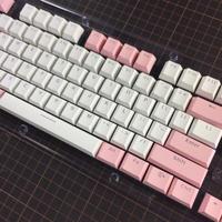 Translucent Double Shot 104 Keycap Set (White/Pink)