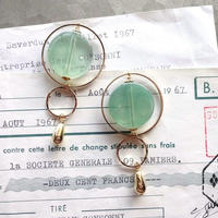 Vintageグリーンノートリングピアス/イヤリング