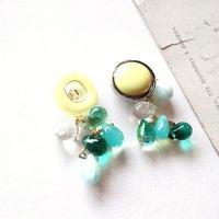 Vintageボタン&mitsuboピアス/イヤリング  (イエロー)
