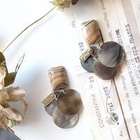 (再)vintageカフェオレ&シェルピアス/イヤリング