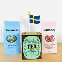 ヴィンテージティン缶/Kobbs Tea/コッブスティー/2種詰め合わせ/Svensk Flagga/スウエーデン国旗付き/木製