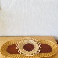手編みのスタイリッシュなトレイ/籐とチーク/2個セット