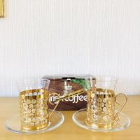 Royal Krona/ローヤルクローナ/アイリッシュコーヒーグラス&ガラスのソーサー付き/2個セット/新品未使用品