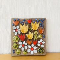 Jie Gantofta/ジィガントフタ/陶板/黄色のチューリップと白いお花