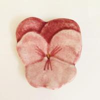 ピンクのヴィオラ/陶器/小皿